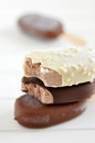 Chocolate popsicle ice cream vanilla covered with almond Stock Images