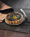Chocolate and postachio tartlet Royalty Free Stock Photography
