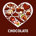 Chocolate candy and comfit heart vector poster patisserie dessert Royalty Free Stock Photo