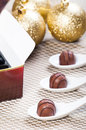 Chocolate praline for christmas gifts or presents Stock Photo