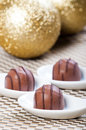 Chocolate praline for christmas gifts or presents Stock Image