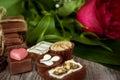 Chocolate praline and hearts desert Royalty Free Stock Photo