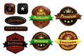 Chocolate premium authentic badges five quality in vector brown coffee or leather style with golden colors Royalty Free Stock Photo