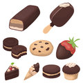 Chocolate products for people. Chocolate desserts icon in set collection on cartoon style Royalty Free Stock Photo