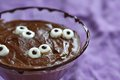 Chocolate pudding with marshmallow for halloween see my other works in portfolio Royalty Free Stock Image