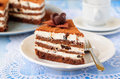 Chocolate quark and prune layer cake a piece of Stock Photos