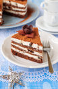 Chocolate quark and prune layer cake a piece of copy space for your text Royalty Free Stock Photography