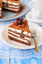 Chocolate quark and prune layer cake a piece of copy space for your text Stock Photo