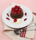 Chocolate Raspberry Dessert Stock Photo