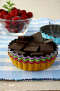 Chocolate and raspberry ready for a delicious tart Royalty Free Stock Images