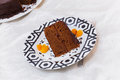 Chocolate sacher cake served on a table a piece of torte on a plate Stock Photos