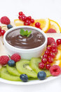 Chocolate sauce fresh fruit and berries close up Stock Photography