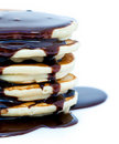 Chocolate sauce on pancakes Royalty Free Stock Photo