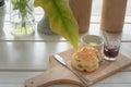 Chocolate scones or fruit scone Royalty Free Stock Photo