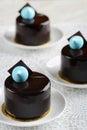 Chocolate sensation round cake three Royalty Free Stock Photo