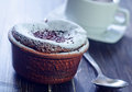 Chocolate souffle on a table Royalty Free Stock Photos