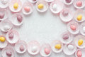 Chocolate speckled candy Easter eggs frame with space for text Royalty Free Stock Photo