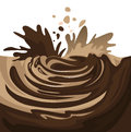 Chocolate splash splashes of dark and white on a white background Royalty Free Stock Image