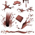 Chocolate splashes set over white background Stock Images