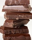 Chocolate stacked pieces in light back Stock Images