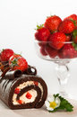 Chocolate & Strawberry Cake Stock Photo