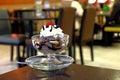 Chocolate sundae ice cream with white whipping cream photo of Royalty Free Stock Photo