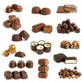 Chocolate sweets collection on a white background Royalty Free Stock Photos