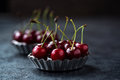 Chocolate tart with cherry Royalty Free Stock Photo