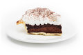 Chocolate tart on the dish in white background photo of Royalty Free Stock Photography