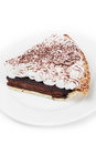 Chocolate tart on the dish in white background photo of Royalty Free Stock Image