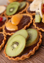 Chocolate tart and fruit Royalty Free Stock Images