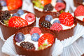 Chocolate tarts with berries Stock Photos