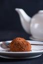 Chocolate truffle on white platter over dark background Royalty Free Stock Photo