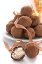 Chocolate truffles sweet cream inside white background Stock Photos