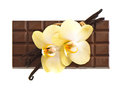 Chocolate with vanilla pods and orchid flowers Royalty Free Stock Image