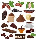 Chocolate vector cartoon cocoa choco sweet food from coco-beans cake confection illustration set of tropical fruit and