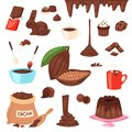 Chocolate vector cartoon cocoa choco sweet food from cocoa-beans cake confection illustration set of tropical fruit and