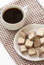 Chocolate wafer cookies with black coffee Royalty Free Stock Photo