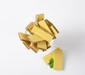 Chocolate wafers in glass rummer on white background Royalty Free Stock Image