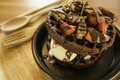 Chocolate waffles And strawberry and ice cream. Royalty Free Stock Photo