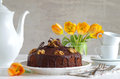 Chocolate walnut cake with chocolate glazing a home made Royalty Free Stock Photos