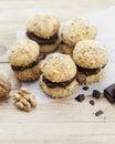 Chocolate walnut cookies crescent homemade Stock Photo