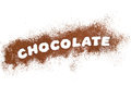 Chocolate word written with cocoa powder Royalty Free Stock Image
