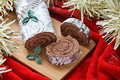 Chocolate yule Christmas log Royalty Free Stock Photo