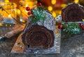 Chocolate Yule Log Royalty Free Stock Photo