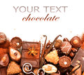 Chocolates border isolated on white Royalty Free Stock Photo