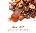 Chocolates border isolated on white background chocolate Royalty Free Stock Image