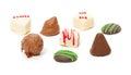 Chocolates confection truffles on white background Stock Images