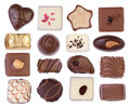 Chocolates isolated on white background assortment of and pralines Stock Photography