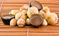 Chocolates Nuts And Hazelnuts Stock Photo